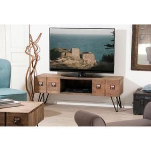 SARAGOSSE Meuble TV industriel en pin et métal verni - 130 cm