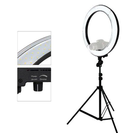 LimoStudio LED 18 inch Ring Flash Light Dimmable SMD LED Lighting Kit 5500K Photography Photo Studio Light Stands, LIWA8