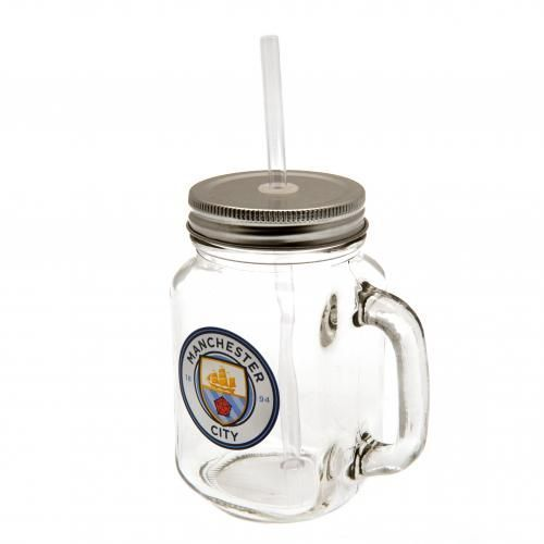 Novelty Manchester City Mason Jar complete with straw and featuring the new Manchester City club crest. Official Licensed Man City gifts. FREE DELIVERY