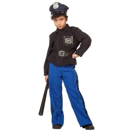 Stoer politiepak voor kinderen; een hesje, riem en broek.
