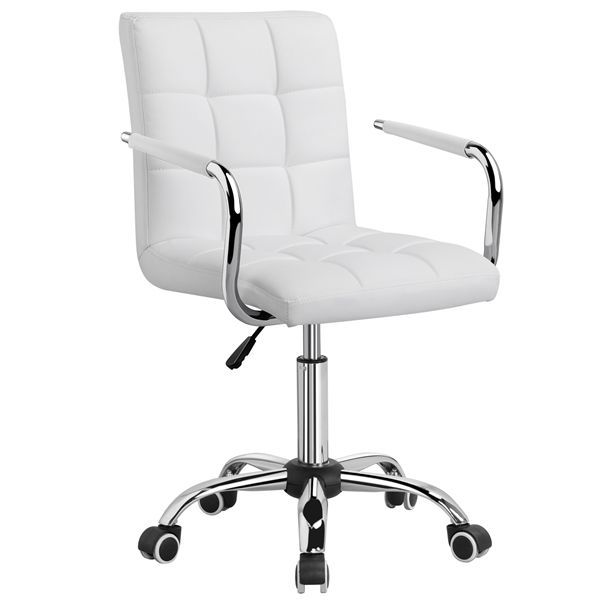 Modern Leather Office Chair Swivel Executive Computer Chair Office Stool Task White Walmart Com In 2020 White Desk Chair Adjustable Office Chair Stylish Office Chairs