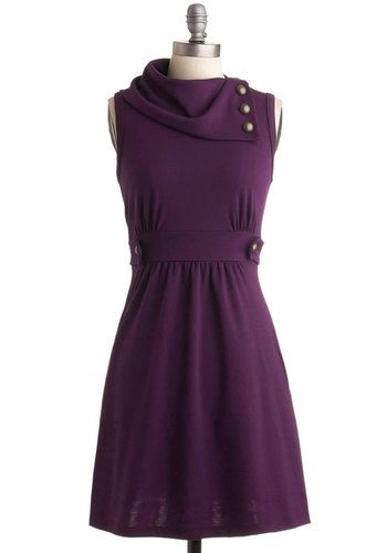 Coach Tour Dress in Violet - Purple, Solid, Buttons, A-line, Sleeveless, Casual, Fall, Show On Featured Sale, Mid-length, Exclusives, Best Seller, Cowl, Tis the Season Sale, Work, Variation, Winter, Top Rated