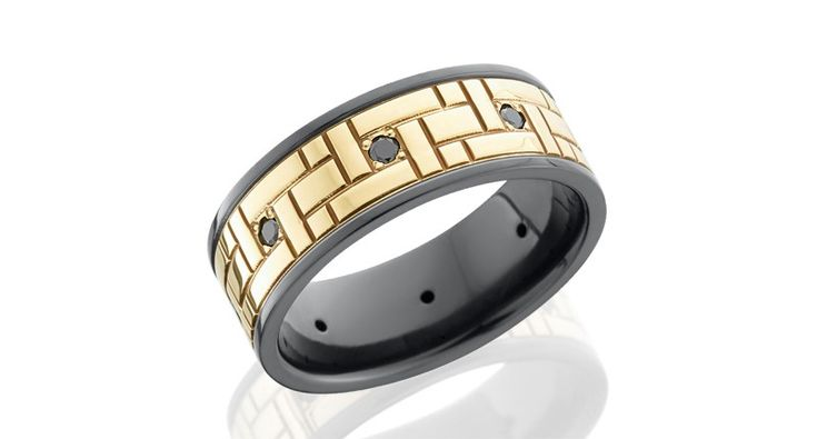 Lashbrook zirconium band with 14-karat yellow gold inlay detailed with a Versailles pattern and eight black diamonds spaced evenly around the band