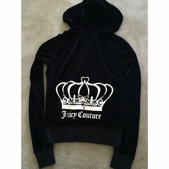 Logo Juicy Couture Crown Velour Original Jacket Logo Juicy Couture Crown Velour Original Jacket in black. Zip up hoodie. Excellent condition, worn once. Silver detailing on back. Perfect Christmas gift  Juicy Couture Jackets & Coats