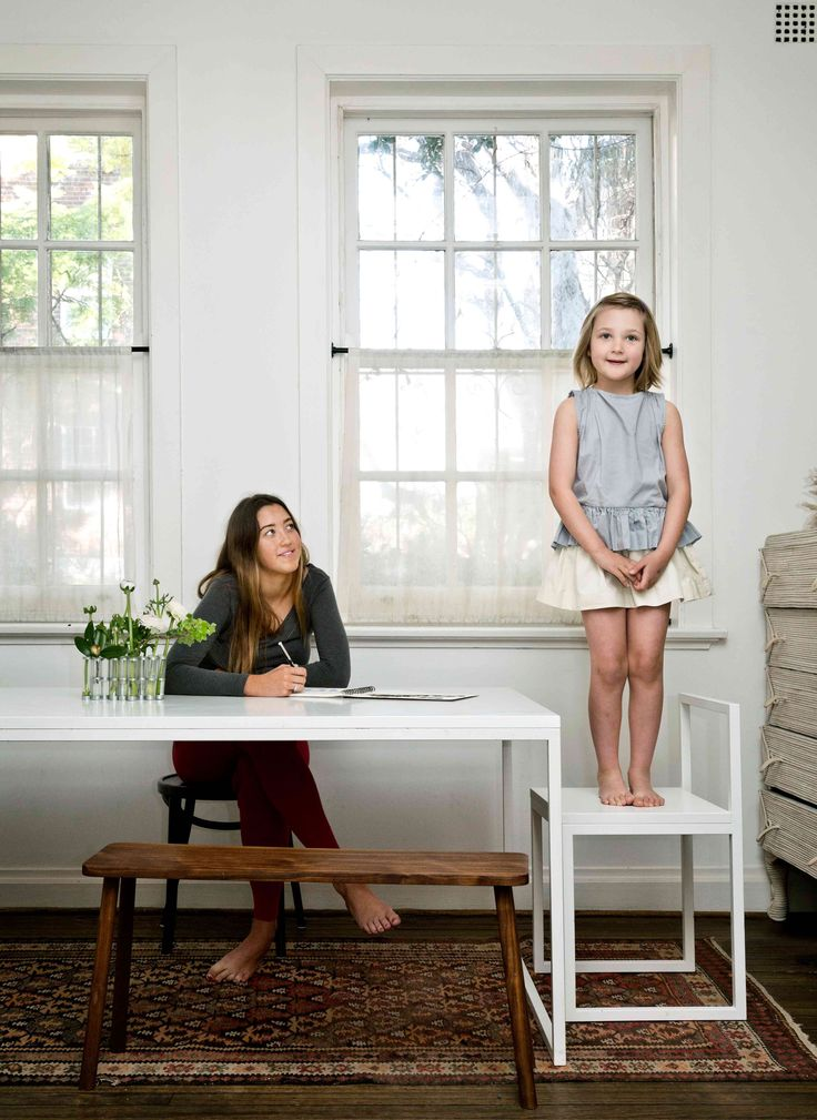 """""""Our dining table is the epicentre – everything happens here! Homework, tax returns, monopoly!"""" Bea wears printebebe."""