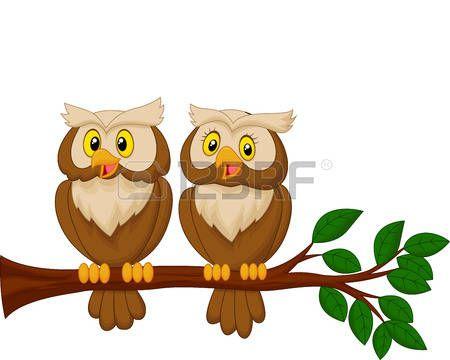 Cute couple de hibou de bande dessin�e photo