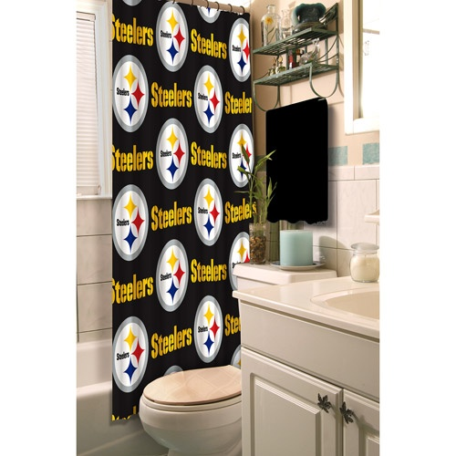 Steelers shower curtain for Steeler themed bathroomSteelers Steel Shower, Steelers Shower, Shower Curtains