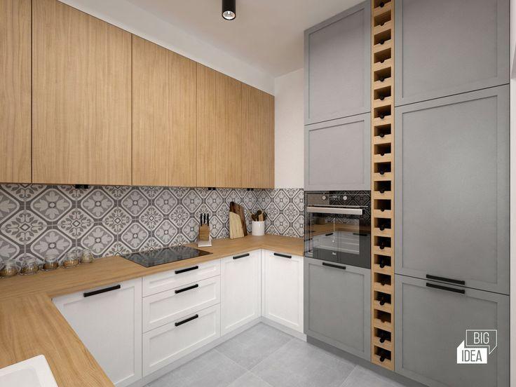 Projekt mieszkania 85m2 w Krakowie, styl eklektyczny, loftowy, wnętrze prywatne; Kuchnia