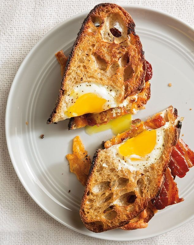 Egg-in-a-Hole Sandwiches with Maple-Glazed Bacon.