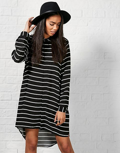 Mink pink black shirt dress