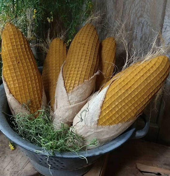 Primitive Set of 3 corn bowl fillers Corn on cob Fall decor
