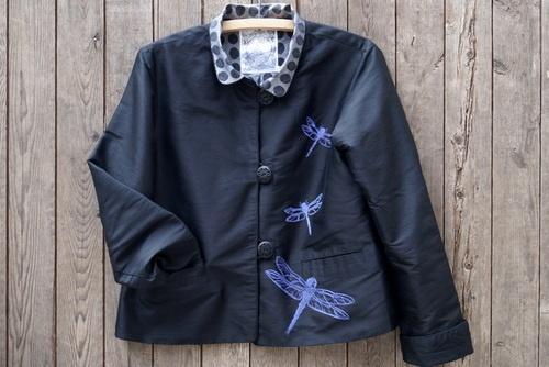 Alter-ations Dragonfly Silk Jacket with original block print design