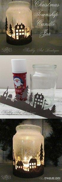 Adorei esta ideia!!! Jarra para velas, decorada com cidade em papel e neve artificial!