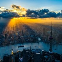 magnificent sunbeams over shanhai china