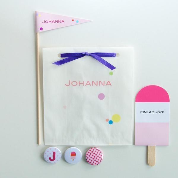 *Einladungskarte, Namensschild, Tütchen, 3 Buttons *  Liebevoll gestaltetes Set für den Kindergeburtstag oder die nächste Gartenparty in rosa/pink....