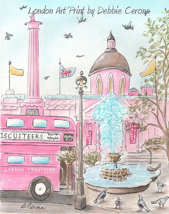 New! London Art Prints for little girl's London themed bedroom. Adorable cake shop print can be personalized with girl's name. Prints feature iconic British landmarks, skyline & more!