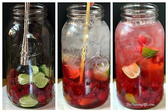 Raspberry Lime Flavored Water(beautiful color and mildly tart) -- Quarter 2 limes; with your hands, squeeze the juice into the jar, then throw in the squeezed lime quarters. Add raspberries. Press and twist with a muddler to release some of the juices (don't pulverize the fruit). Fill the jar with ice, then add water to the top. Stir, cover, and refrigerate.