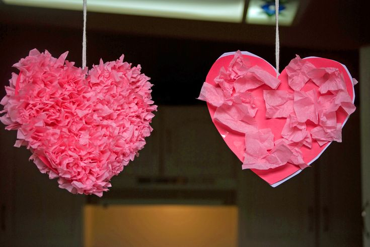 Valentine's Day Tissue Heart Preschool Craft
