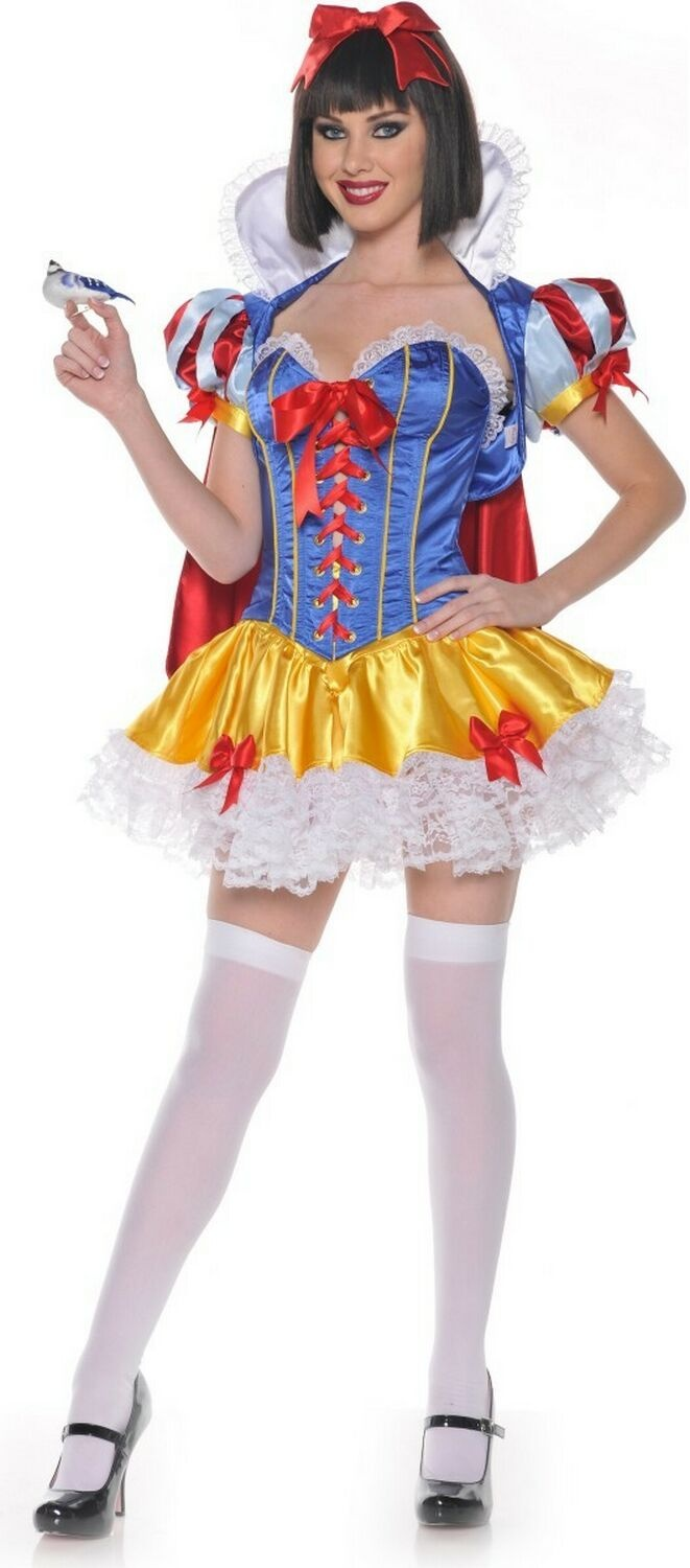 Ladies Snow White Costume Adults Fever Fairytale Fancy Dress Womens Sexy Outfit