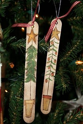 Christmas trees on craft sticks. Opens up a lot of ideas when you think about painting in this form instead of the entire stick (e.g., a snowman, Santa Claus, nutcracker, reindeer, etc.)