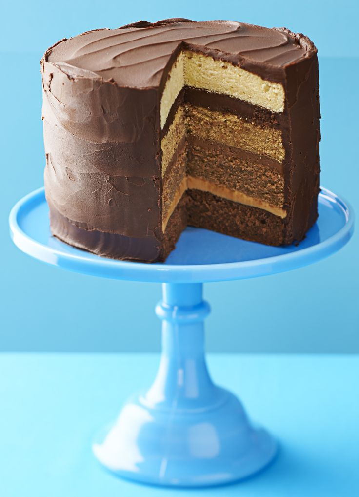 Triple chocolate caramel cake: This chocolate caramel cake is what's known as an 'ombre' cake; each layer has a different shade with dark chocolate, milk chocolate and caramel flavours.