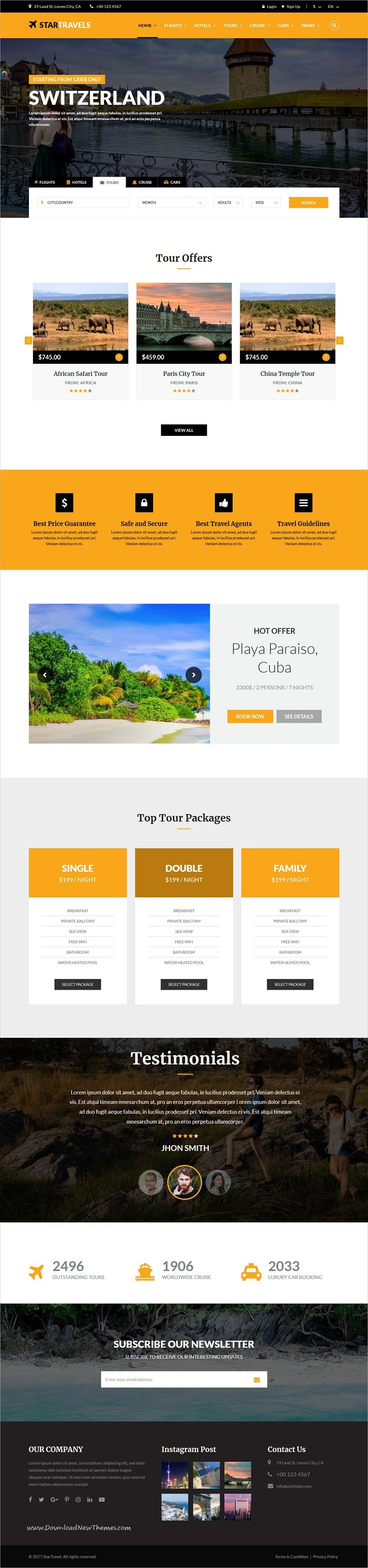 Star Travel is clean and modern design responsive bootstrap HTML5 template for #travel, tour and #hotel #booking services website with 6 unique homepage layouts to live preview & download click on Visit