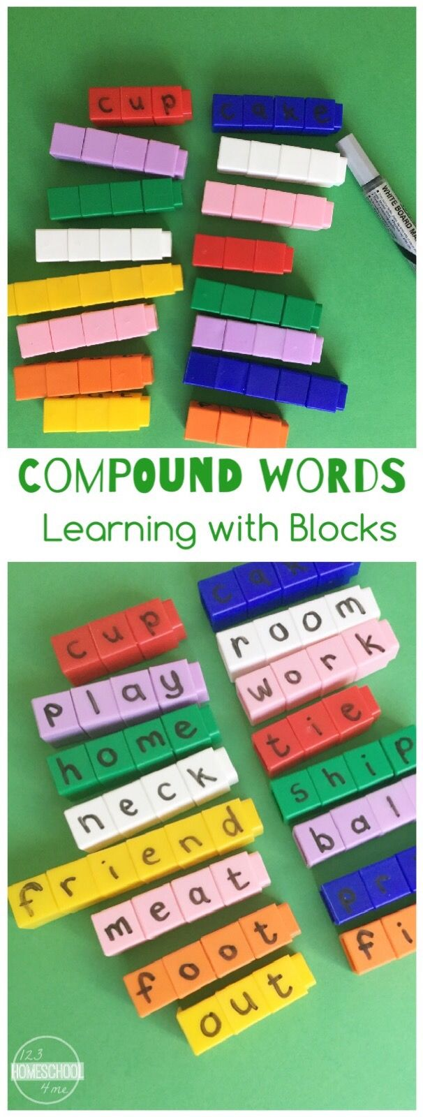 Compounds Words Activity- this is such a fun learning activity for prek, kindergarten, first grade, second grade, and 3rd grade kids to understand and practice compound words with a fun hand on learning activity perfect for literacy centers, homeschooling, summer learning, and more!