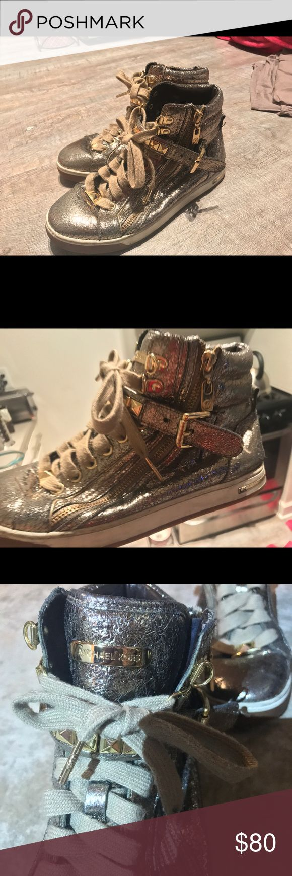 MICHAEL KORS gold high tops Metallic rose gold high top sneakers size 7.5 too small worn once KORS Michael Kors Shoes Sneakers