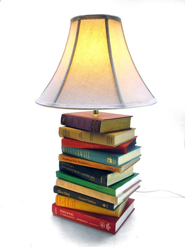Book lamps add beautiful lighting and aesthetics to any room. A great idea  for repurposing those old books you love, won't read again, ...