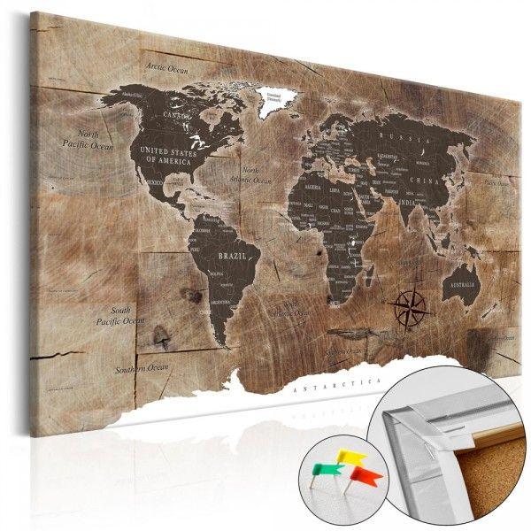 Tableau En Liege Carte Du Monde Mosaique Effet Bois Carte Du Monde Deco Carte Du Monde Tableau Carte Du Monde