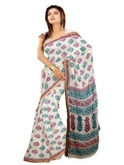 UNM1298-Alluring casual cream mangalagiri handloom cotton block printed saree