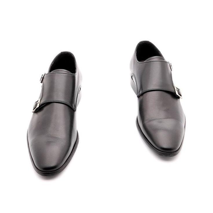 Scarpe primavera / estate per l'uomo, scarpe basse, di colore nero, in vera pelle, Suola in cuoio con disegno antiscivolo, a mano in Italia.