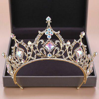 (eBay Ad) 7.5cm High Adult Gold AB Crystal Wedding Bridal Party Pageant Prom Tiara Crown