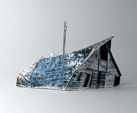 Israeli artist Ofra Lapid's Broken Houses series consists of incredibly detailed scale models based on photographs of abandoned barns, houses, and apartment buildings.