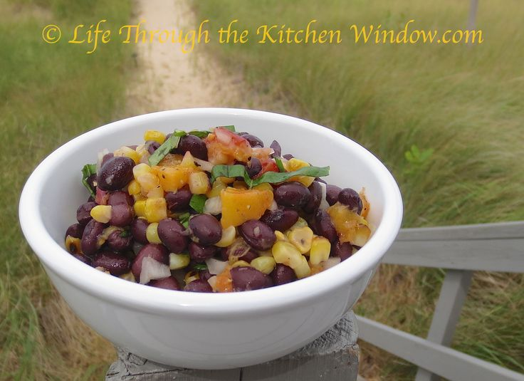 Black Bean Salad with Grilled Corn & Peaches │ © Life Through the Kitchen Window.com