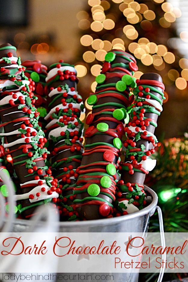 Christmas Dark Chocolate Caramel Pretzel Sticks  Recipe / Click Photo for Recipe / Easy & Fast use any chocolate & toppings you like. My Family Loved these! http://www.ladybehindthecurtain.com/dark-chocolate-caramel-pretzel-sticks/