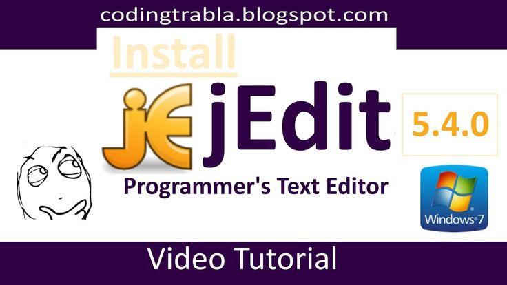 Instell #jEdit 5.4.0 on Windows 7 - Programmer's Text Editor
