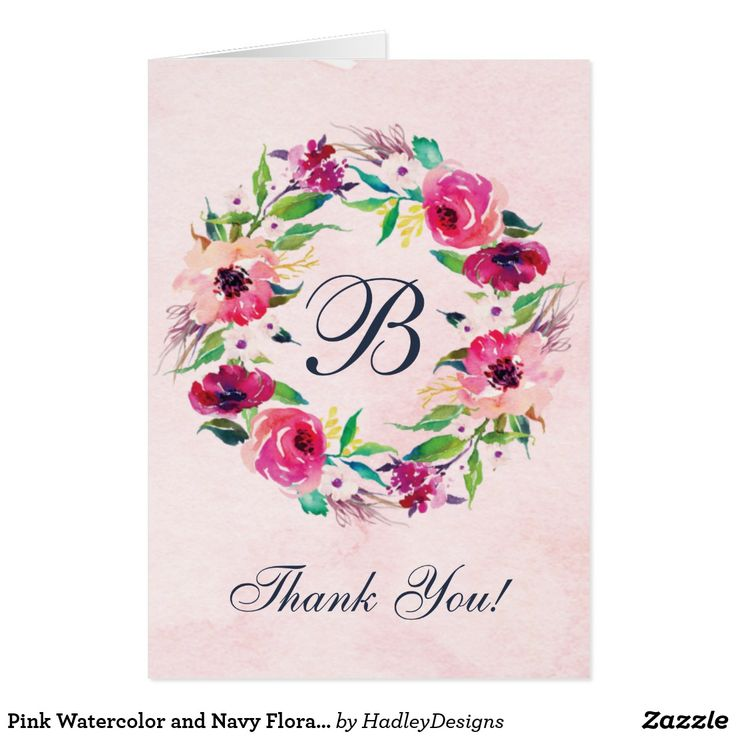 Pink Watercolor and Navy Floral Wedding Thank You