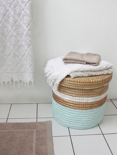 Painted laundry basket