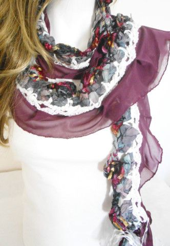 Chic Scarf, Boho, Gypsy, Hippie, Crochet Scarf, Scarf with applications, Gypsy Love, Unique product is, gray, burgundy, white, boho stil