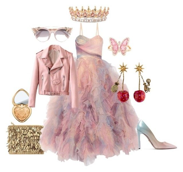 Punk princess by illetilmote on Polyvore featuring Marchesa, Prada, Forest of Chintz, Luna Skye, Gucci, Jimmy Choo and Too Faced Cosmetics