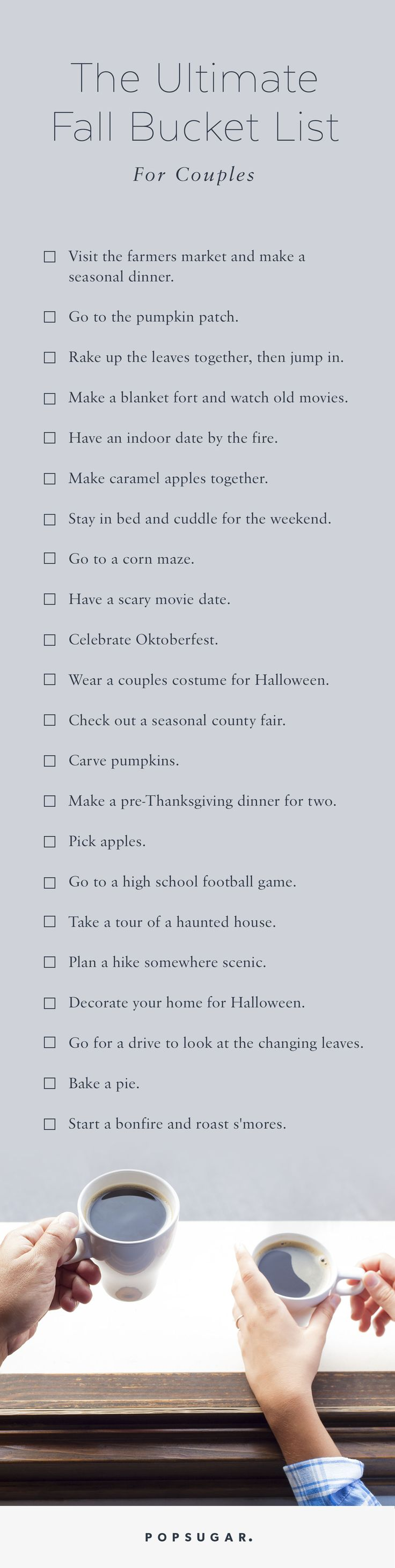 We challenge you and your partner to complete all of these activities before Fall is over. It will bring you closer together right in time for the holidays!