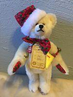"""Teddy Hermann Germany 9"""" Ltd. Ed. mohair CHristmas Bear 6 of 500 96112 Hirschaid"""