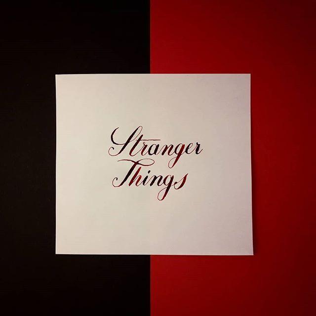 30 Days of Calligraphy Challenge Day 19: Favorite TV show  #calligraphy #30daycalligraphy #lettering #copperplate #strangerthings #red #black