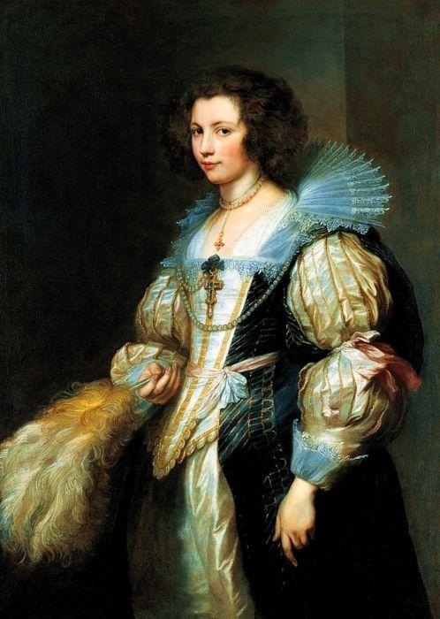 Nesse quadro de Van Dicky percebemos  a transição do renascimento para o barroco. Vemos um meio rufo, assimetria, pérolas que se juntam ao alfinete do centro, jogo de opostos, penas e toucado mais brando.