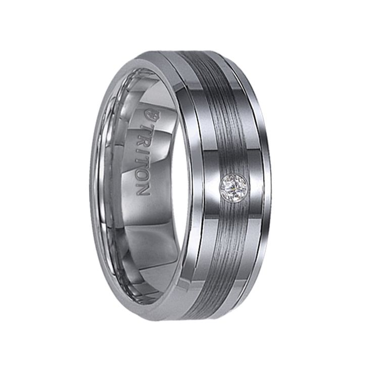Triton Rings -QUINLAN Beveled Tungsten Carbide Wedding Band with Center Satin Stripe and Single Diamond Setting - 8 mm