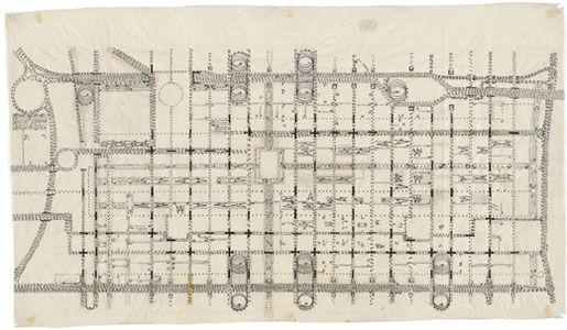 Traffic Study, project, Philadelphia, Pennsylvania. Plan of proposed traffic-movement pattern, Louis I. Kahn