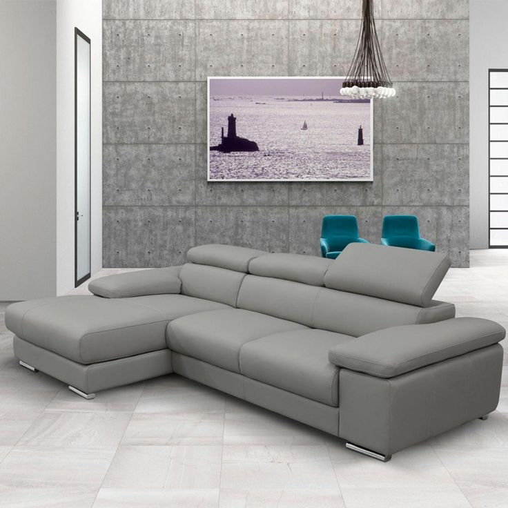 Nicoletti Lipari Grey Italian Leather Sofa Chaise Left Facing Costco Uk Italian Leather Sofa Grey Leather Sofa Corner Sofa