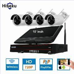 [ $18 OFF ] 10 Inch Displayer 4Ch 720P Wireless Cctv System Wireless Nvr Ip Camera Ir-Cut Bullet Home Security System Cctv Kit Hiseeu