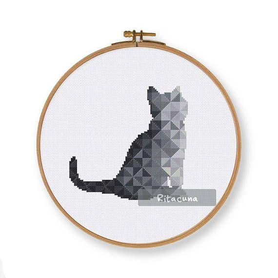 Geometric Black Cat cross stitch pattern Floss: DMC Colors: 10 Stitch size: 76 x 74 Stitches: full stitch, back stitch, three quarter stitch * Suggested fabric and size: Fabric: 14 count Designed area: 5.43 x 5.29 ------------------ PDF pattern contains: – Floss Palette – Color Symbol